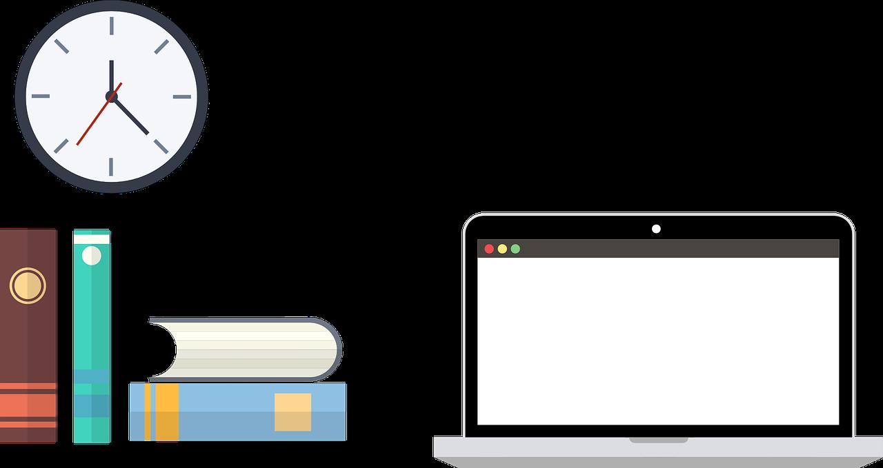 study, laptop, books